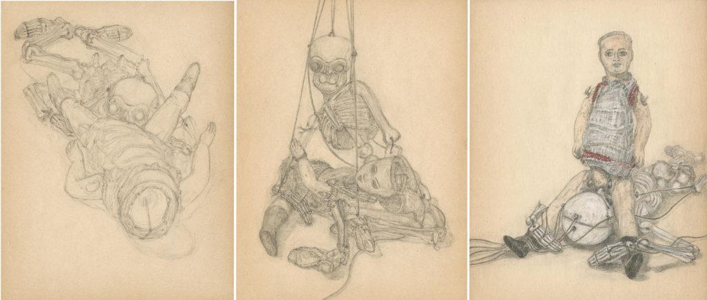 3 dessins au crayon, crayons de couleur et cire sur papier, 20 x 25 cm